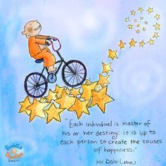 """""""Each individual is master of his or her destiny: it is up to each person to create the causes of happiness."""" HH Dalai Lama #BuddhaDoodles"""