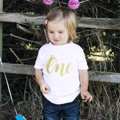 Birthday Top, Script One Plain TShirt 1st Birthday Shirts, It's Your Birthday, Girl Birthday, One Year Old, 1st Birthdays, Inspiration For Kids, Kids Fashion, T Shirts For Women, Party Planning