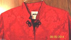 Womens Kimono Blouse Red, Size 12 by Leslie Fay Dresses, Black Braid Trim #LeslieFayDresses #Blouse #ClubwearEvening