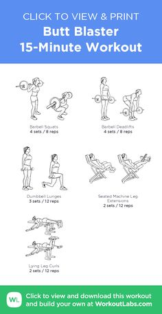Butt Blaster 15-Minute Workout –click to view and print this illustrated exercise plan created with #WorkoutLabsFit