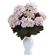 Nearly Natural - Nearly Natural Hydrangea with White Vase in Cream Pink - Elegance personified - that's exactly what this beautiful Hydrange. Fake Flowers, Artificial Flowers, Silk Flowers, Silk Floral Arrangements, Floral Bouquets, Silk Tree, Pink Hydrangea, Hydrangeas, Silk Plants