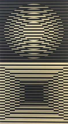 """Designer & Manufacturer: Victor Vasarely Markings: signed; e. 135/150 Country of Origin & Materials: Hungarian; lithograph Additional Information & Circa: Lithograph by Victor Vasarely (1908-1997). The Collectors Guild, Ltd. (New York) label on reverse. """"Denise Rene Editeur"""" blind stamp. Vasarely is well listed and known as a founder of Optical Art. His works are included in almost every museum in the world having a collection of contemporary art. Dimensions: 27.25""""h, 13.75""""w; 32""""h, 20.5""""w"""