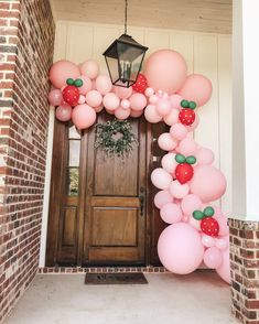 - First Birthday Girl First Birthday Balloons, 1st Birthday Party For Girls, First Birthday Decorations, First Birthday Themes, Baby Birthday, Birthday Ideas, Strawberry Shortcake Birthday, Strawberry Baby, Baby Shower