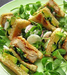 Crispy Avocado Tonkatsu (pork tenderloin) Club with a Daikon Pea Shoot Salad