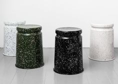 Each of these splotchy metal Last Stool Splatter seats, designed by Max Lamb for furniture brand Hem, has been patterned by hand