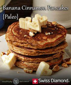 Banana Cinnamon Pancakes {Paleo} via @Breanna Newbill Newbill Newbill Newbill Newbill Veltkamp Diamond Cookware // #Paleo #banana