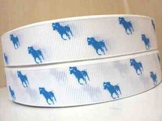 1 Yard 7/8 White and turquoise blue polo horse Grosgrain Ribbon hairbow supplies on Etsy, $1.54