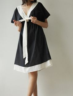 Butter Fly II Black and white Cotton Dress by aftershowershop, $39.50