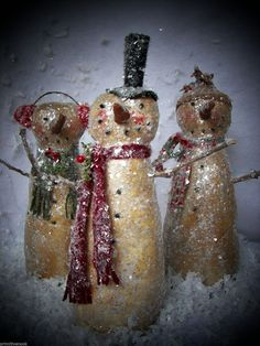 Pattern Only Primitive Christmas Snowman Trio Doll Pattern Primnook | eBay