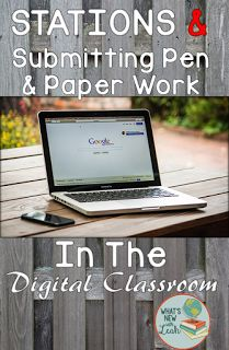 Curious about making stations work in a blended classroom? What about turning in work? This post explores how you can have your students submit pen-and-paper work digitally, as well as how you can make stations work in a digital classroom. Teaching Secondary, Teaching Social Studies, Teaching Aids, Teaching Technology, Educational Technology, Learning Stations, Math Work, Gymnasium, Interactive Activities