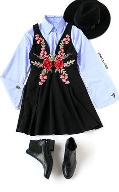 Vintage fashion-Black flower embroidered skater dress outfit.
