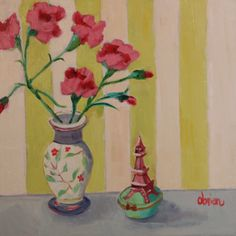 """""""Carnations with Ring Box"""", 12x12, oil on panel by Santa Fe, New Mexico painter Annie O'Brien Gonzales"""