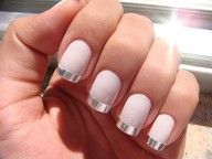 Light pink nails with Silver french tips. CLASSY!!!!! Reminds me of a ballerina