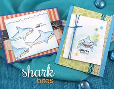 Jaw-some Cards by Jennifer Jackson | Shark Bites Stamp set by Newton's Nook Designs