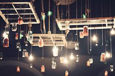 creative ways to light up mason jars, electrical lighting, outdoor living, repurposing upcycling, Hanging Window Chandelier via Lovely Little Details Mason Jar Chandelier, Mason Jar Lighting, Diy Chandelier, Jar Lights, Hanging Lights, Hanging Jars, Bottle Lights, Mason Jars, Diy Luminaire