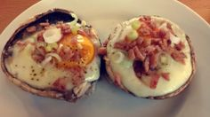 Baked Eggs, topped with Spring Onion & Bacon in Portobello Mushroom Caps Bake about 15 minutes at 180 Celsius