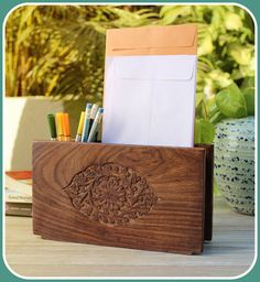 What a rustic way to hold desk accessories!