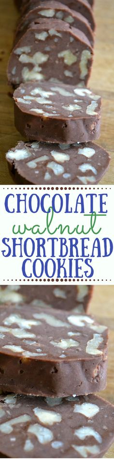 Chocolate Walnut Shortbread Cookies ~ if a cookie and a brownie had a baby they might come up with a delicious buttery cookie like this! ~ theviewfromgreatisland.com
