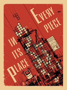 """Every Piece In Its Place, print, """"A recently unearthed Soviet-era propaganda poster that reveals the revolutionary origins of the game Tetris."""" From Pop Chart Lab Russian Constructivism, Fine Art Posters, Pop Posters, Rest, Graphic Design Illustration, Vintage Posters, Retro Posters, Typography Design, Print Design"""