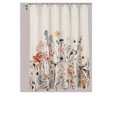 Feminine florals bloom across this Floral Wave Shower Curtain from Threshold™, bringing a relaxing feel and simple pops of color to your bathroom. Keeping water in and style shining bright, this shower curtain shares its functional use with pretty bathroom decor.