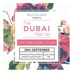 ONE WEEK TO GO!! We couldn't be more excited for The Dubai Pop-up by BluMuslin on 29th September at Millennium Plaza Hotel Dubai, Sheikh Zayed Road. 3:00pm-10:00pm #DUBAI #PopUp #Exhibiton #Designer #Blumuslin #fashion #SALE #multidesigner #Webstore #onlinestore #instafashion #luxury #luxurious #instaluxury #shopnow #availablenow #shopping #Love #shopaholics #Indiandesigners #indianculture #indianwedding #Indianclothes #indianfashion #bridal #wedding