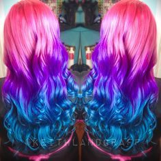 Purple and Blue Ombre Hair 39367 Pink Purple Blue Dyed Hair Color Vividartistichairdesign Pinkish Purple Hair, Blue Ombre Hair, Blue And Pink Hair, Pink Blue, Beautiful Hair Color, Cool Hair Color, Beautiful Mermaid, Bright Hair, Bright Purple