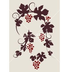 Grape vines silhouettes set vector