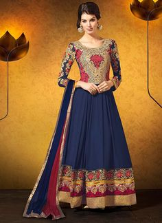 Adorning blue georgette anarkali suits, with patch work, resham work, embroidery work. with matching chiffon dupatta.