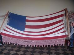 American Flag Red, White, and Blue Family Hammock Outdoor/Indoor Cotton Bar Handmade Hand Woven H26 With Macrame Mission Hammocks