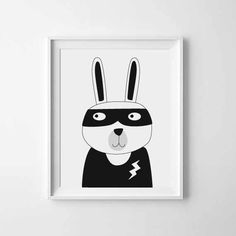 Nursery art, Kids room art print, Bunny art print, monochrome print, black and white nursery poster