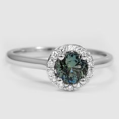 18K White Gold Sapphire Halo #Diamond Ring // Set with a 5.5mm Green Round Sapphire.