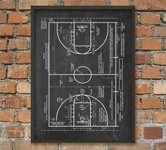 Basketball Court Schematic Diagram Wall Art Poster