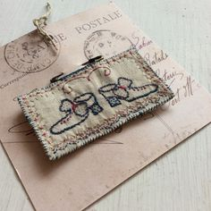 """A hand stitched little dancing """"shoe"""" broochA perfect and special everyday brooch finished with a strong safety pinMeasures:8cm in length"""