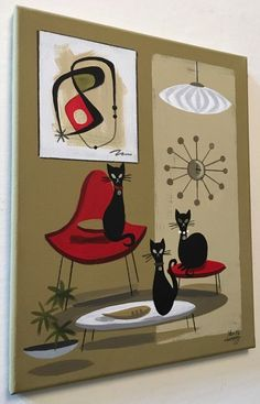 El Gato Gomez Painting Retro 1950's Mid Century Modern Eames Knoll Black Cats | eBay