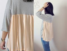 SomeChicStuff: DIY | transform a basic tshirt using part of pleated skirt for back