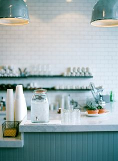 white + turquoise / Beacon Coffee & Pantry