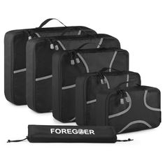Foregoer Packing Cubes Travel Luggage Organizers Set with Laundry Bag - Black ** Insider's special review you can't miss. Read more  : Travel accessories