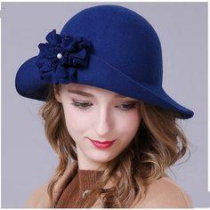 Chic flower floppy hat for women warm wool felt hats