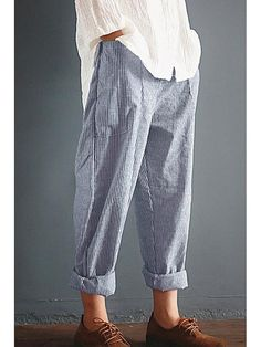 Casual Striped Pockets Cotton Linen Pants herhershoes Sophisticated Work Attire and Office Outfits for Women Comfy Pants, Casual Pants, Casual Outfits, Loose Pants Outfit, Harem Pants Outfit, Harem Pants Men, Women's Pants, Adidas Pants, Ankle Pants