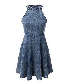 Fabric: denim Halter neck Sleeveless styling Zip back closure Fitted waist seam…