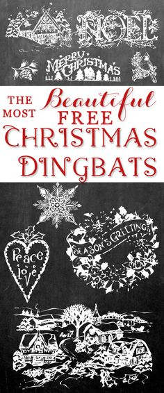 The Most Beautiful Free Christmas Dingbat Fonts will help you create stunning Christmas cards, printables or stationary in no time!
