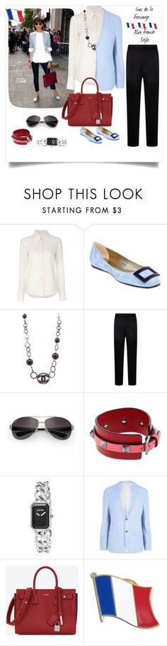 """""""French outfit"""" by oliviabing ❤ liked on Polyvore featuring Ines de la Fressange, Chloé, Roger Vivier, Chanel, St. John, Ray-Ban, Valentino, River Island and Yves Saint Laurent #rogervivieroutfit"""