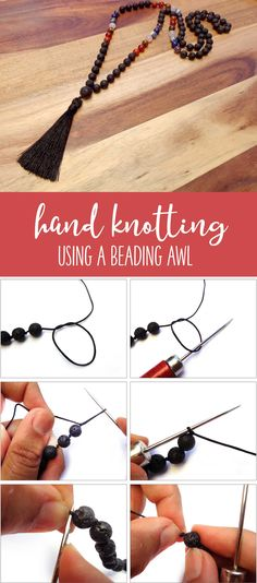 Hand Knotting Using a Beading Awl. Make beautiful knotted necklaces.