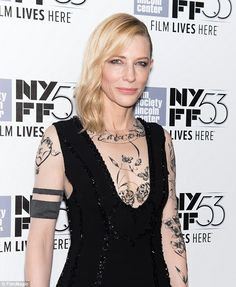 Tatt's a nice look: Cate Blanchett wore an edgy look to the New York premiere of her movie...