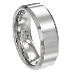 Men's White Tungsten Ring with Satin Finish and Polished Beveled Edges | 8mm - MTG0066