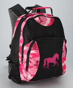 Ready, set, ride! Equestrians can carry everything necessary for a day at the stables in this cute camo backpack complete with zipper compartments and a mesh side pocket perfect for a water bottle.