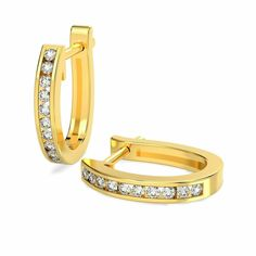 RRP £500 1/3 Ct Round Diamond Channel Set Hoop Earrings in Yellow Gold #DIAMONDSNEXUS #Hoop