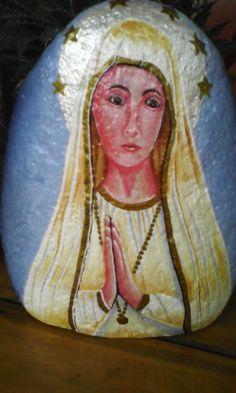 Nuestra Señora de Fatima, pintura sobre piedra