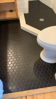 Bathroom Decor videos home decor and furniture home decor afterpay home decor austin home decor appleton wi a home decor turlock Hexagon Tile Bathroom Floor, Black Tile Bathrooms, Linoleum Flooring Bathroom, Hexagon Floor Tile, Cheap Bathroom Flooring, Black Hexagon Tile, Honeycomb Tile, Tiny Bathrooms, Tiny House Bathroom