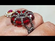 Hello, A lot of effort goes into the making of these videos. If you like my work and would like to support my channel, please feel free to donate money for r. Beaded Jewelry Designs, Handmade Jewelry, Diy Beaded Rings, Jewelry Rings, Jewelery, Ring Tutorial, Diy Crystals, Jewelry Crafts, Videos